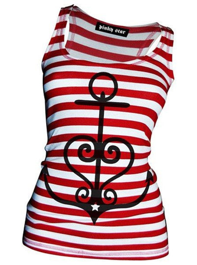 "Women's ""New Anchor"" Racerback Tank by Pinky Star (Red/White) - www.inkedshop.com"