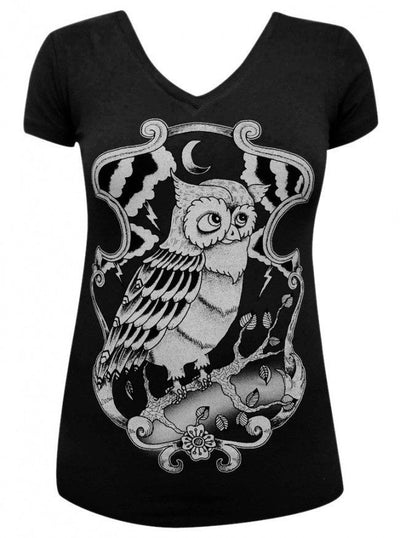 "Women's ""Night Owl"" V-Neck Tee by Black Market Art (Black) - InkedShop - 2"