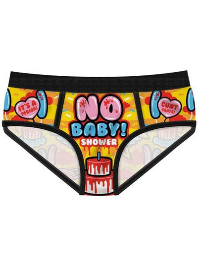 "Women's ""No Baby Shower"" Period Panties by Harebrained! - www.inkedshop.com"