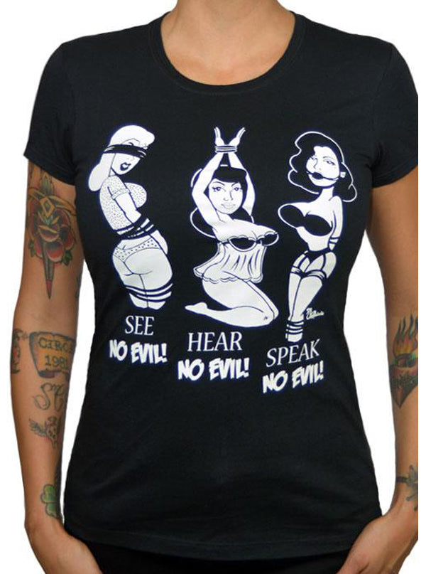 "Women's ""No Evil"" Tee by Pinky Star (Black)"