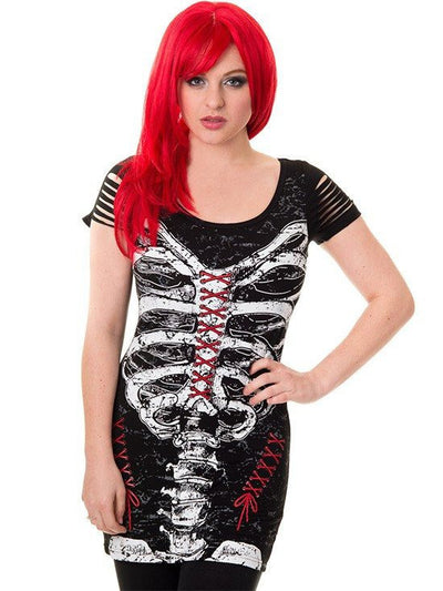 "Women's ""Corset Skeleton"" Top by Banned Apparel (Black) - www.inkedshop.com"