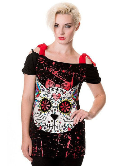 "Women's ""Sugar Kitty"" Top by Banned Apparel (Black) - www.inkedshop.com"
