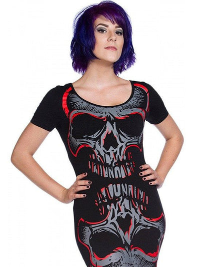 "Women's ""Skull Mirror"" Top by Banned Apparel (Black/Red) - www.inkedshop.com"