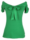 "Women's ""Off the Shoulder"" Top by Pinky Pinups (Green/White) - www.inkedshop.com"
