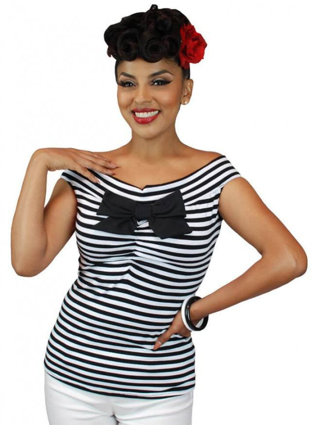 "Women's ""Striped Off The Shoulder"" Sleeveless Top by Pinky Pinups (Multi) - www.inkedshop.com"