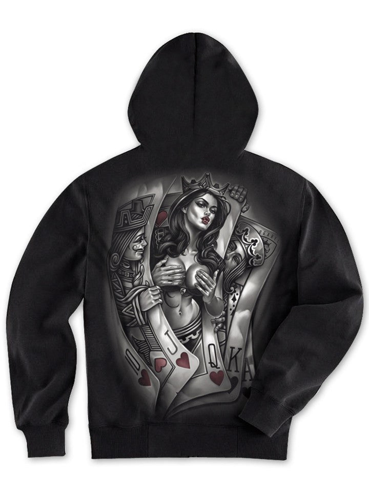 "Men's ""Playcards 016"" Zip-Up Hoodie by OG Abel (Black) - www.inkedshop.com"