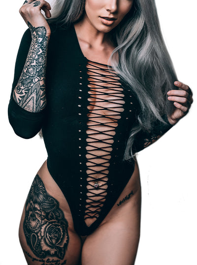 Women's Lace Up Opaque Bodysuit by Leg Avenue