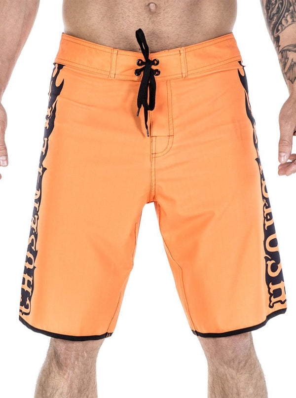 "Men's ""Breaker of Chains"" Board Shorts by Headrush Brand (Orange)"