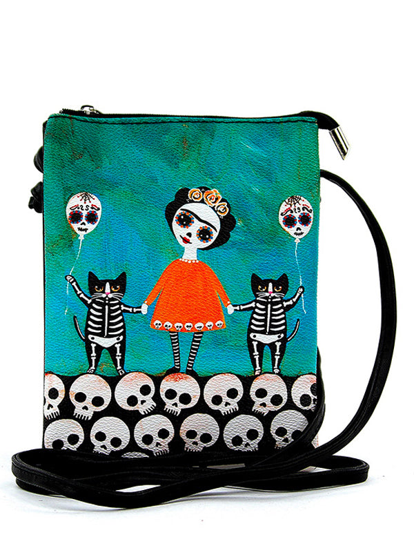 Skeleton Girl with Balloon Cats Crossbody Bag