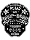 """Drop Dead Ouija"" Skull Bath Towel Set by Too Fast (Black)"