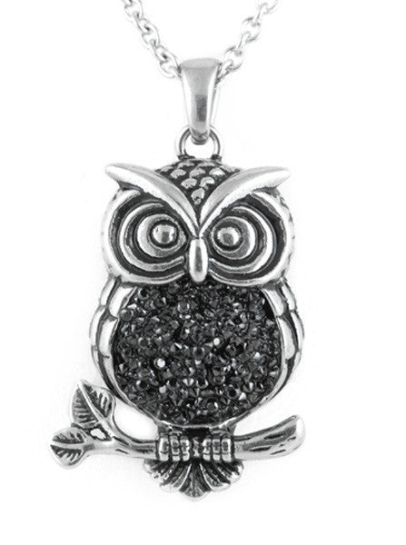 """Mid-Nighter Owl"" Necklace by Controse (Silver) - www.inkedshop.com"