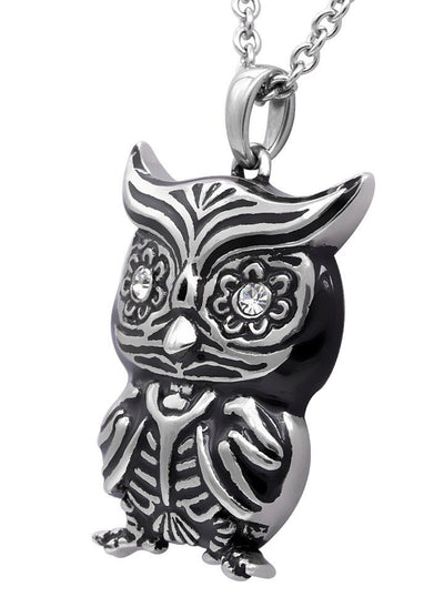 """Crystal Eyes Owl"" Necklace by Controse (Silver) - www.inkedshop.com"