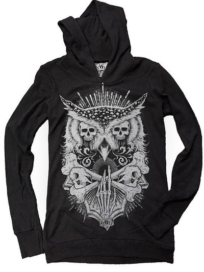 "Women's ""Night Watcher"" Pullover Hoodie by Fortune Killer (Black) - www.inkedshop.com"
