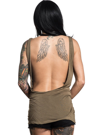 "Women's ""Owl Rose"" Tank by Sullen (Olive)"