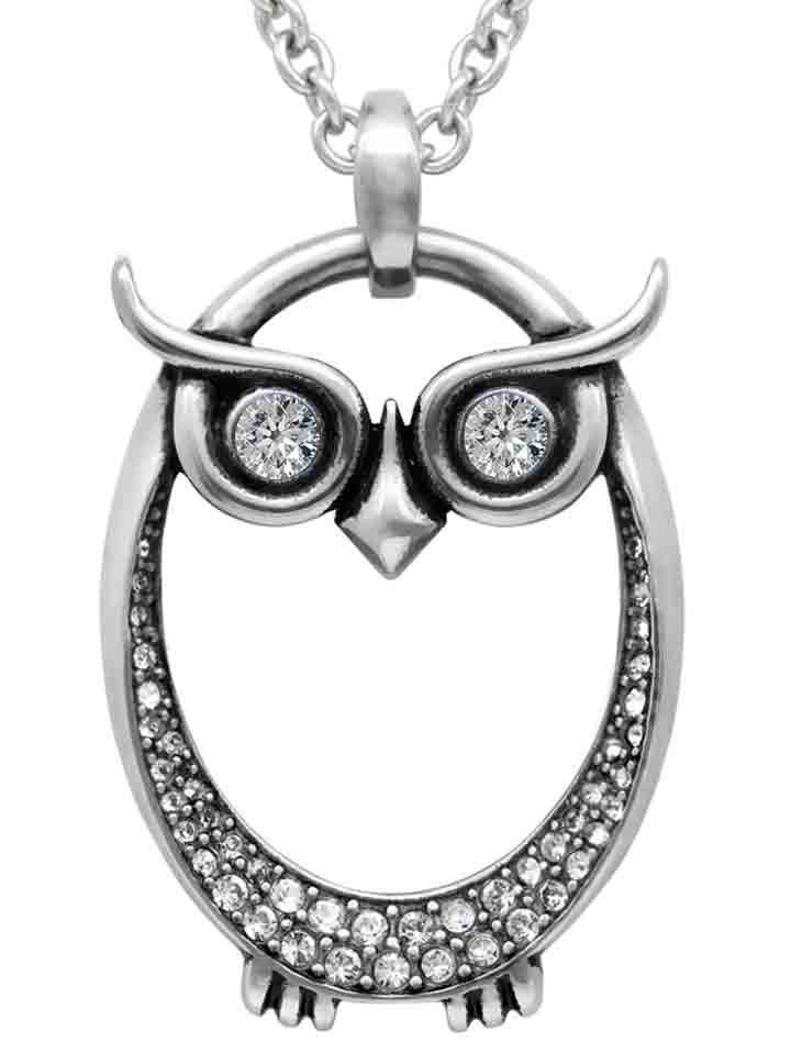 Owl Necklace with Swarovski Crystal by Controse