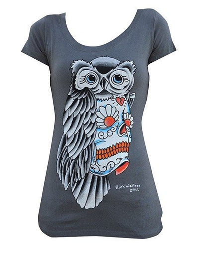 "Women's ""Owl Sugar Skull"" Scoop Tee by Lowbrow Art Company (Gray) - InkedShop - 1"