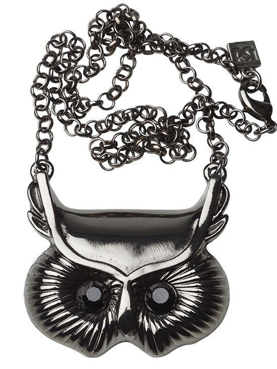 Owl Necklance by Kitsch 'n' Kouture (Black or Pink) - www.inkedshop.com