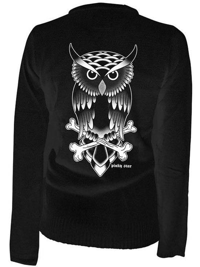 "Women's ""Owl Tattoo"" Cardigan by Pinky Star (Black) - www.inkedshop.com"