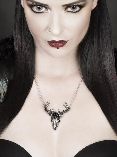 """White Hart, Black Rose"" Pendant by Alchemy of England (Silver)"