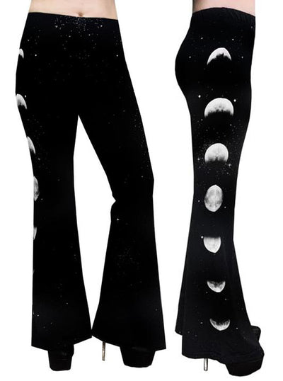 Women's Phases Of The Moon Bell Bottom Flares by Rat Baby