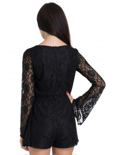 "Women's ""Devilishly Dark"" Lace Playsuit by Jawbreaker (Black)"