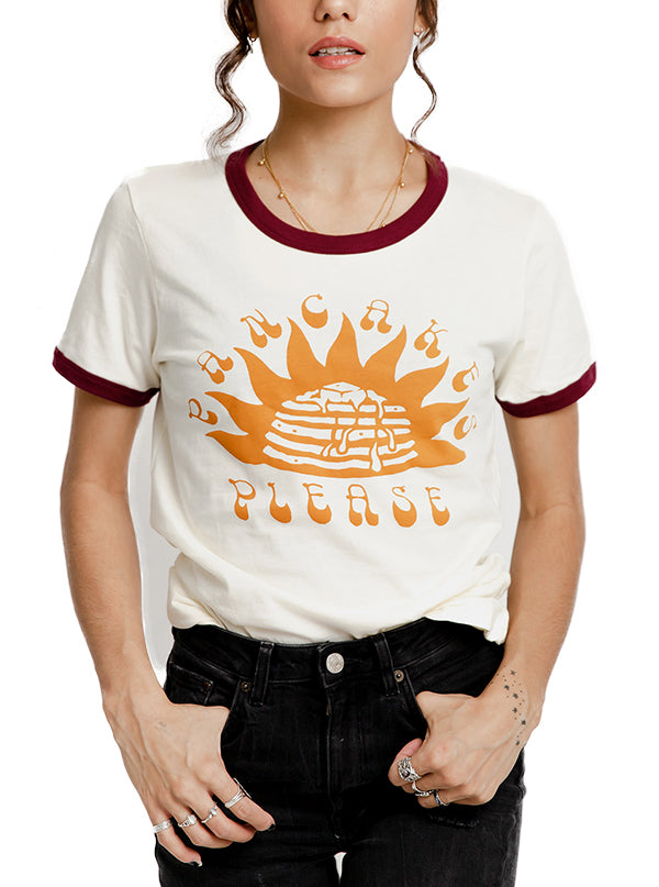 Women's Pancakes Please Ringer Tee by Pyknic