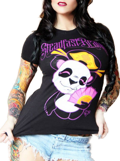 "Women's ""Panda"" Tee by Jime Litwalk for Steadfast Brand (Black)"