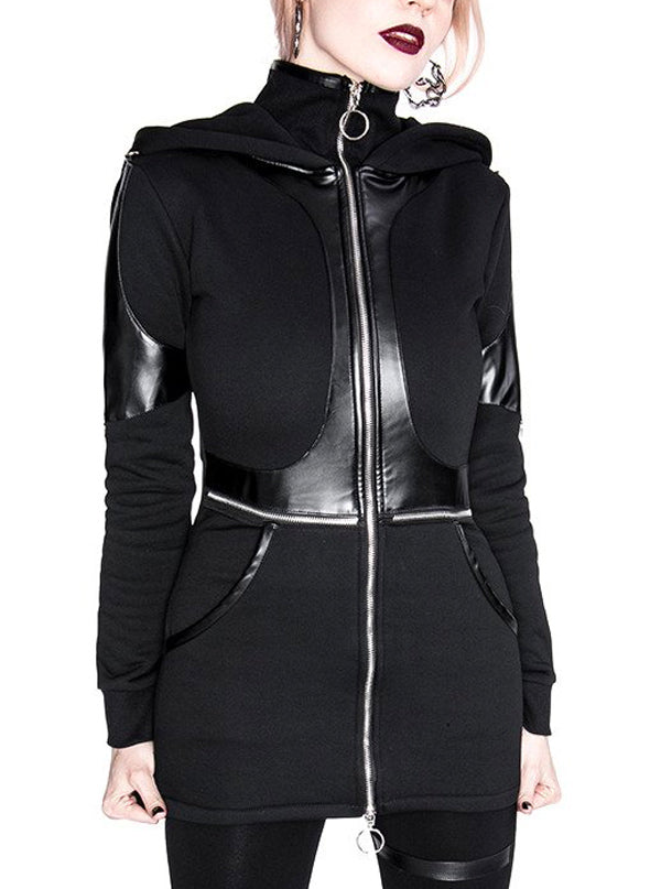 Women's Paneled Faux Leather Hoodie by Restyle (Black)