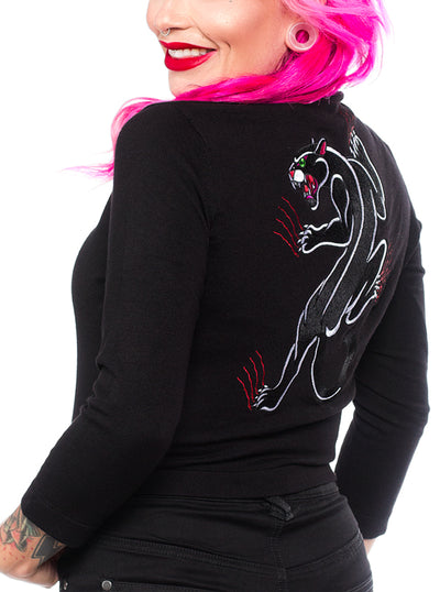 Women's Crawling Panther Cropped Cardigan by Sourpuss
