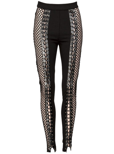 Women's Unchained Fishnet Lace Up Pants by Pretty Attitude Clothing