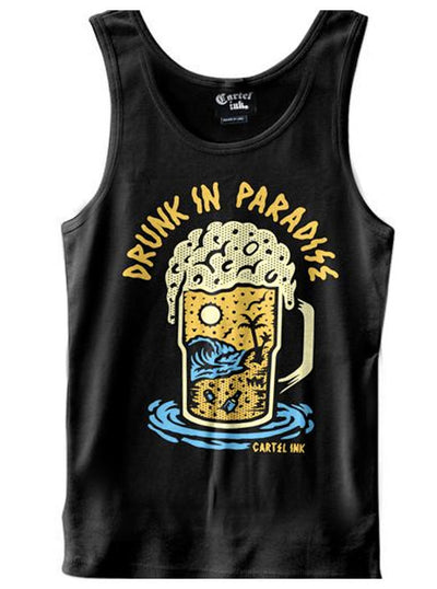 "Men's ""Drunk In Paradise"" Tank by Cartel Ink (Black)"
