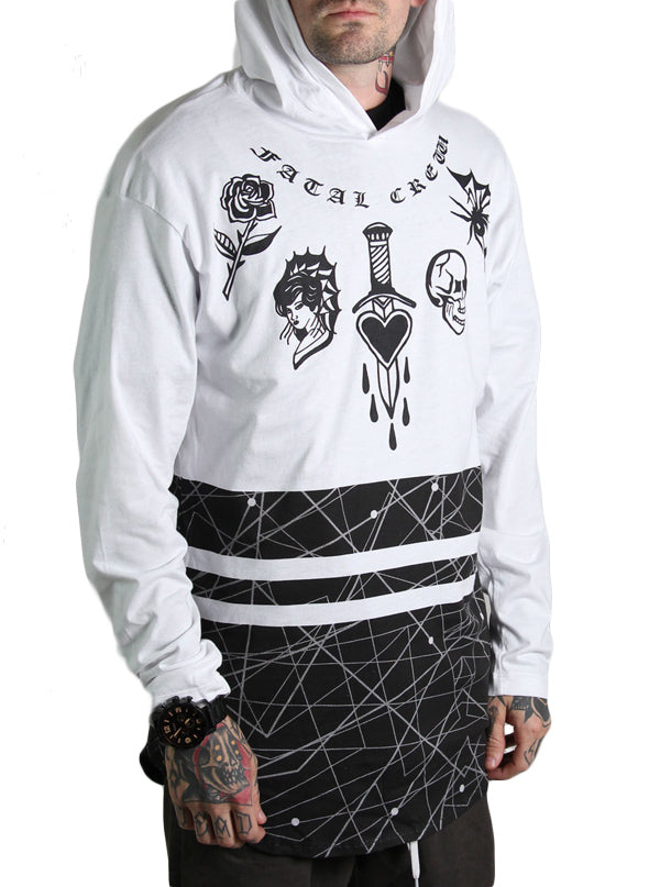 Men's Paris Lightweight Hoodie by Fatal Clothing (White/Black)