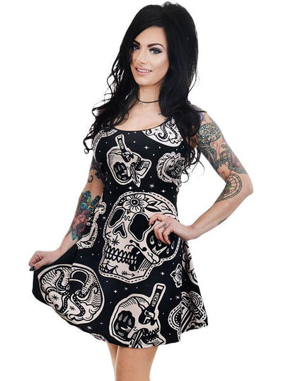 "Women's ""Patchwork Tattoo & Skull"" Ginger Dress by Too Fast (Black)"