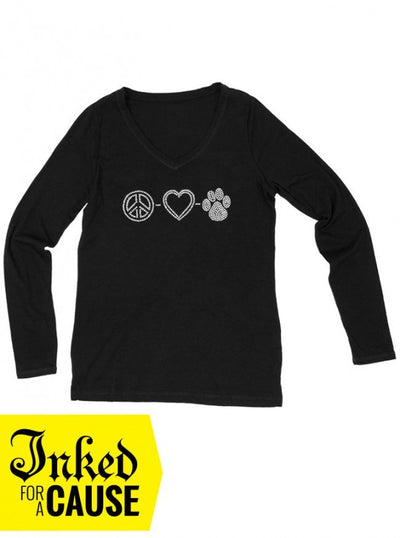 "Unisex ""Peace, Love & Puppies"" Long Sleeve Tee by American Bulldog Rescue (Black) - www.inkedshop.com"