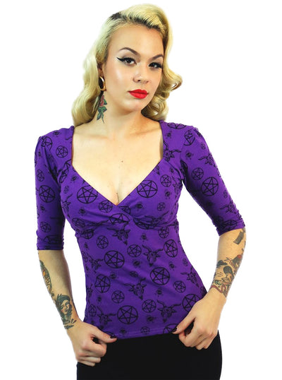 "Women's ""Pentagram"" Bella Top by Switchblade Stiletto (Purple)"