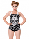 "Women's ""Skull Pentagram"" Swimsuit by Banned Apparel (Black) - www.inkedshop.com"