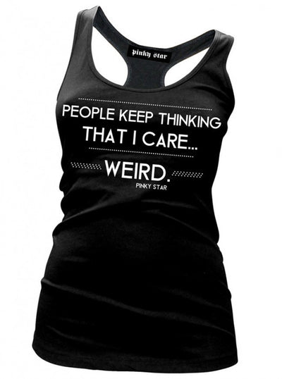 "Women's ""People Keep Thinking That I Care..."" Tank by Pinky Star (Black) - www.inkedshop.com"