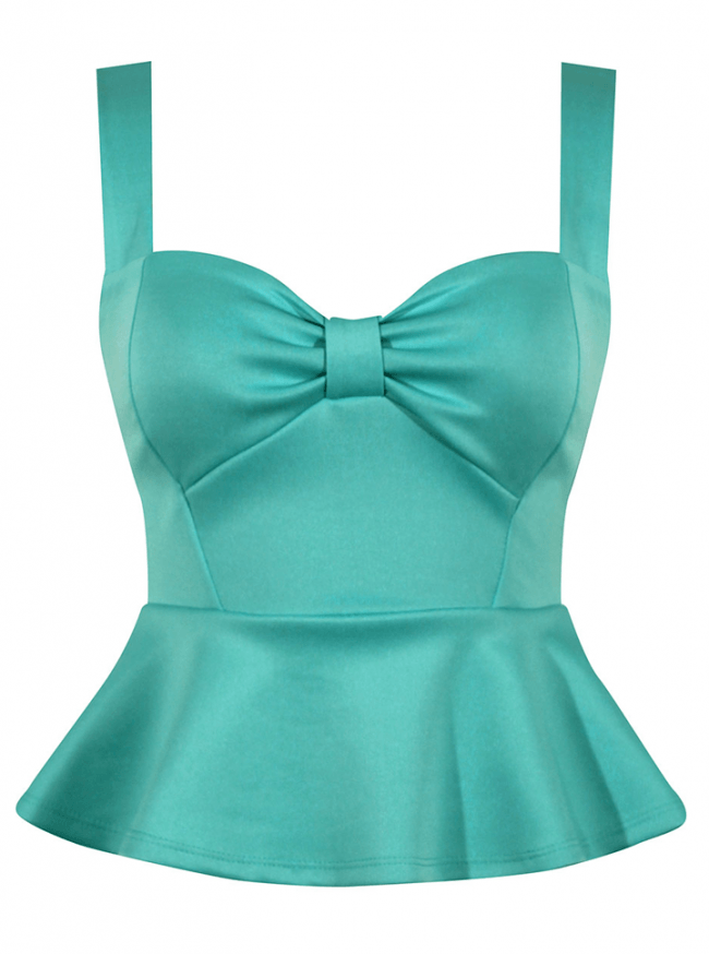 "Women's ""Miss Vixen Pinup"" Peplum Top by Double Trouble Apparel (Mint) - www.inkedshop.com"