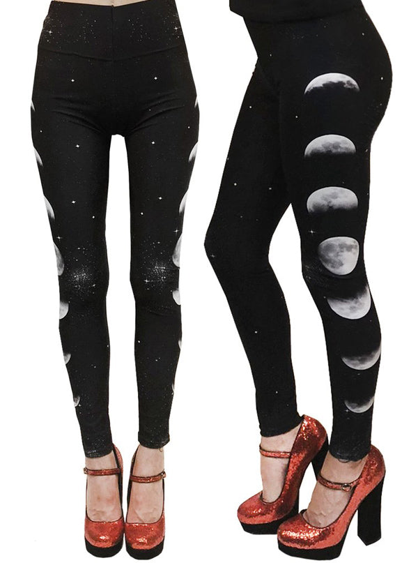 Women's Phases Of The Moon High Waist Leggings by Too Fast