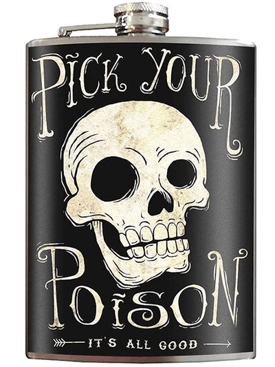 """Pick Your Poison"" Flask by Trixie & Milo - www.inkedshop.com"