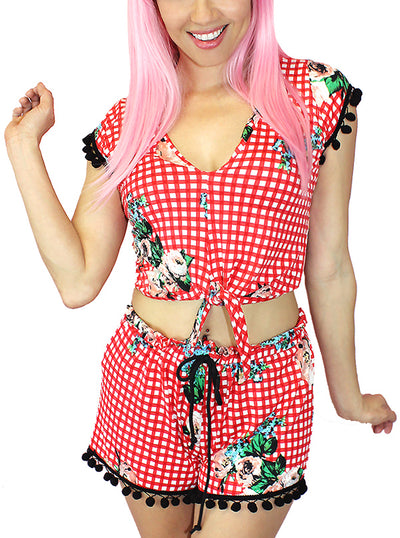 Women's Cowgirl Kitten Playsuit by Demi Loon (Red Gingham)