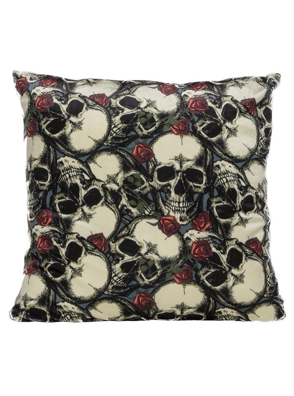 Skulls And Roses Velvet Pillow Cover by Pretty Attitude Clothing