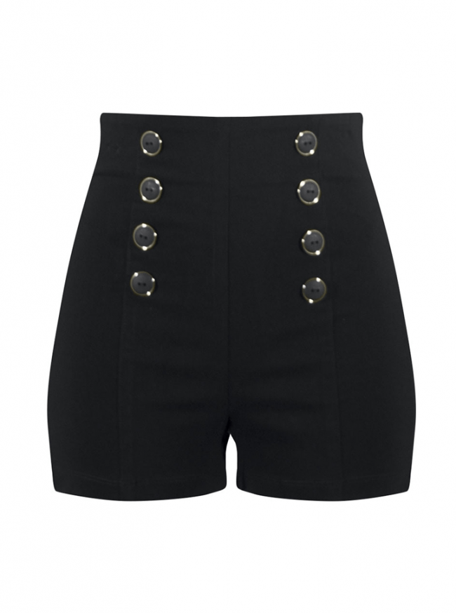 "Women's ""High Waist"" Pin Me Up Shorts by Double Trouble Apparel (Black) - www.inkedshop.com"