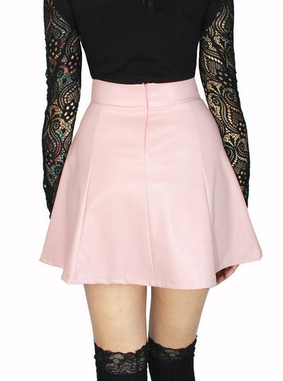 "Women's ""Pleated"" Pleather Skirt by Demi Loon (Light Pink) - www.inkedshop.com"