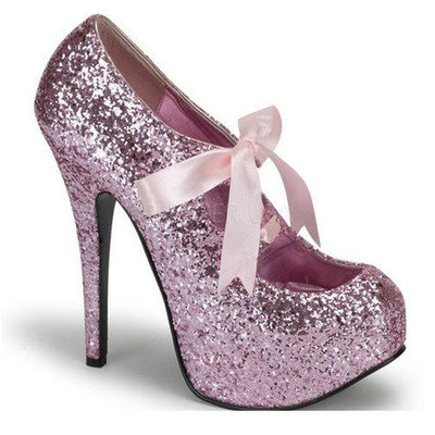 Baby Pink Glitter with Pink Lace Pumps by Bordello - InkedShop - 1