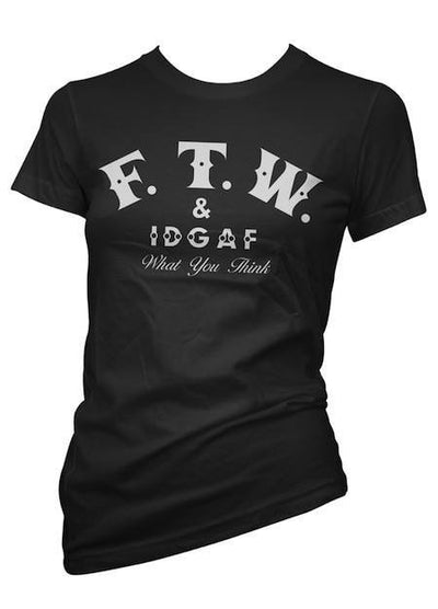 "Women's ""FTW & IDGAF"" Tee by Pinky Star (Black) - InkedShop - 1"