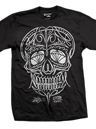 "Men's ""Pinstriped Skull"" Tee by Cartel Ink (Black) - www.inkedshop.com"
