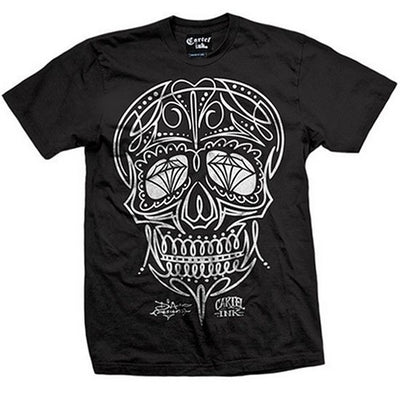 "Men's ""Pinstriped Skull"" Tee by Cartel Ink (Black) - InkedShop - 1"