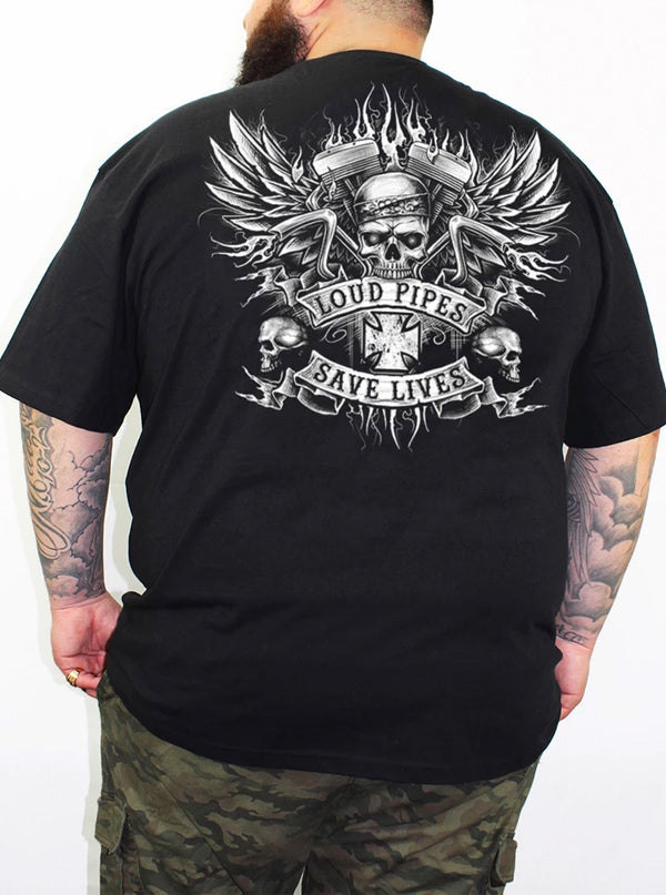 Men's Bandana Skull Loud Pipes Tee by Lethal Threat