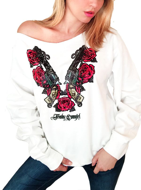 Women's Guns Roses Oversized Sweatshirt by Trashy Cowgirl (White)